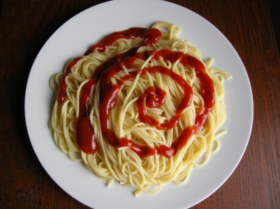 Afbeeldingsresultaat voor pasta met ketchup